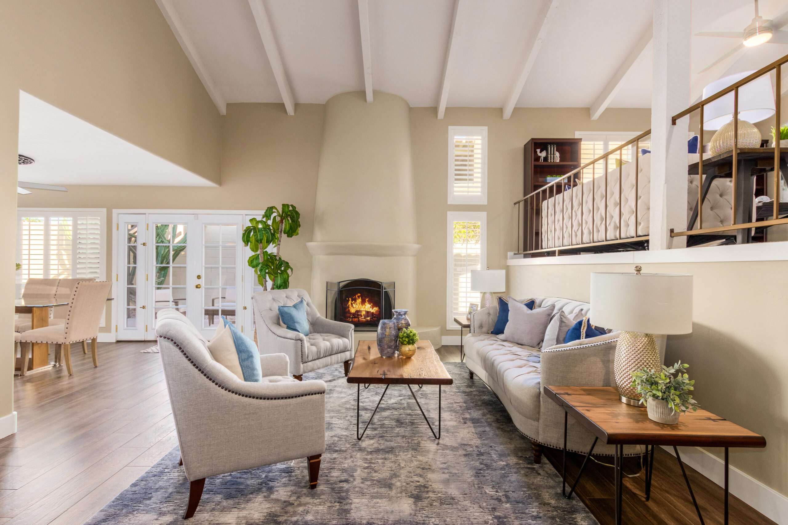 Greatroom with Soaring Ceilings and Fireplace